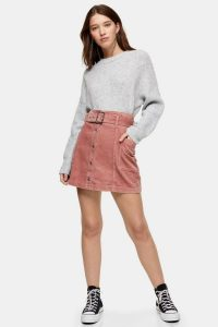 TOPSHOP Pink Corduroy Button Down Belted Mini