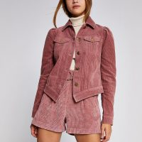 RIVER ISLAND Pink corduroy puff sleeve fitted jacket