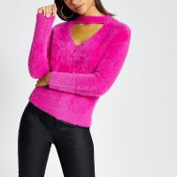 RIVER ISLAND Pink cut out long sleeve fluffy jumper – bright sweaters
