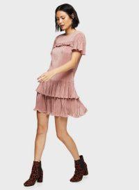 MISS SELFRIDGE Pink Lurex Plisse Frill Smock Dress – flippy hem dresses