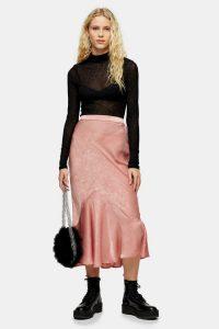 TOPSHOP Pink Satin Flounce Midi Skirt