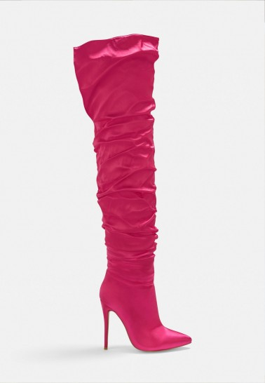 MISSGUIDED pink satin ruched long slit boots – bright gathered stiletto boot