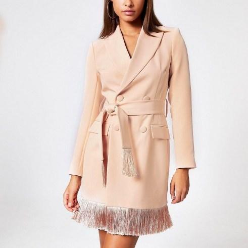 River Island Pink tassel fringe blazer dress - flipped