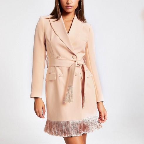 River Island Pink tassel fringe blazer dress