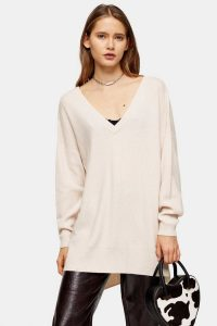 Topshop Pink V Neck Knitted Jumper With Cashmere | essential longline sweater
