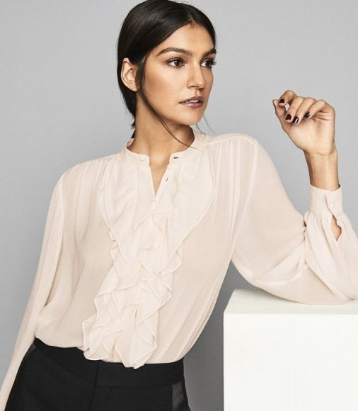Reiss PIP RUFFLE CHIFFON BLOUSE NUDE – feminine ruffled blouses - flipped