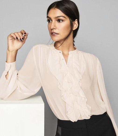 Reiss PIP RUFFLE CHIFFON BLOUSE NUDE – feminine ruffled blouses