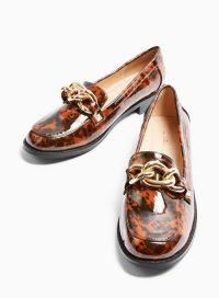 MISS SELFRIDGE PIPPA Brown Chain Chunky Loafers – embellished flats