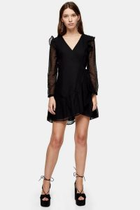 Topshop Plain Black Dobby Ruffle Mini Dress | LBD | celebration frock