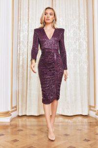 LAVISH ALICE pleated sequin midi dress in purple – evening event dresses