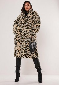 MISSGUIDED plus size brown leopard print oversized teddy coat – fluffy animal print winter coats
