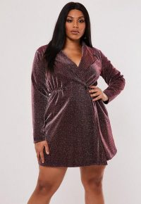 MISSGUIDED plus size pink glitter wrap blazer dress – shimmering mini