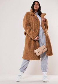 MISSGUIDED plus size tan oversized long teddy coat – textured winter coats