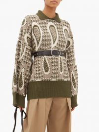JW ANDERSON Point-collar paisley-intarsia wool sweater olive-green