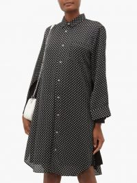 JUNYA WATANABE Polka-dot satin shirtdress in black / spots / dots / designer shirt dress