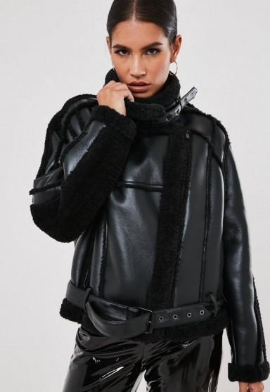 MISSGUIDED premium black teddy borg belted aviator jacket – on-trend winter jackets