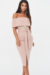 rosie connolly sheer corset bardot midi dress in mink – off the shoulder evening dresses