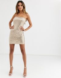 PrettyLittleThing sequin bodycon mini dress in pale gold | metallic strappy bodycon