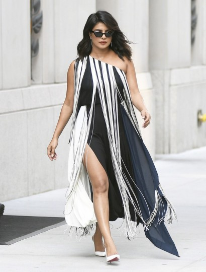 Priyanka Chopra wearing a monochrome one shoulder fringed dress, out in NYC, September 2019 – celebrity street style USA