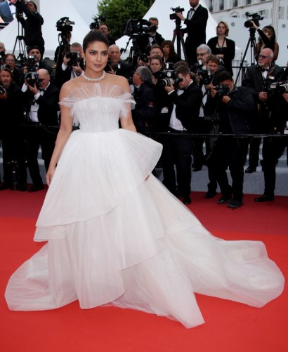 Priyanka Chopra attends 'The Best Years of a Life' premiere at Cannes 2019, dressed in a white Georges Hobeika tiered gown – celebrity red carpet events in France