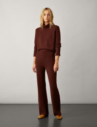 Joseph Pure Cashmere Knit Trousers in Maroon | knitted pants