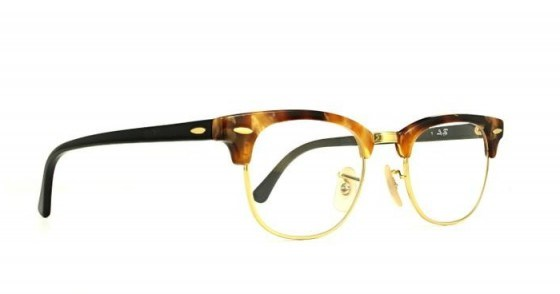 Glasses Direct Ray-Ban Clubmaster 5154-49 in Brown Havana – classic vintage style - flipped
