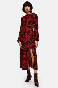 TOPSHOP Red Rose Print Tie Neck Dress