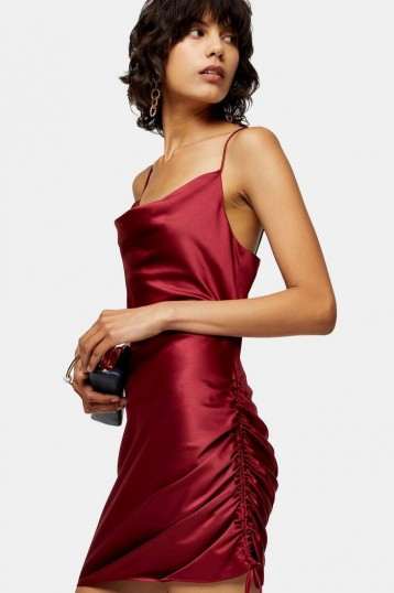 TOPSHOP Red Satin Ruched Mini Slip Dress – strappy side-gathered cami dresses