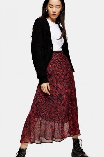 Topshop Red Warped Leopard Midi Skirt | semi sheer overlay skirts