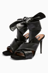 TOPSHOP RICO Leather Black Strap Heels