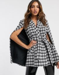River Island boucle check cape jacket in multi | on-trend capes