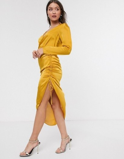 River Island midi wrap dress with gathered side in gold | ruched evening dresses - flipped
