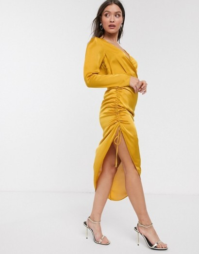 River Island midi wrap dress with gathered side in gold | ruched evening dresses