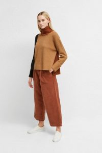 French Connection River Vhari Colour Block Roll Neck Jumper Camel/Utility Blue/Casablanca