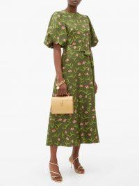 BORGO DE NOR Romini carnation-print silk midi dress in khaki-green / lady-like dresses