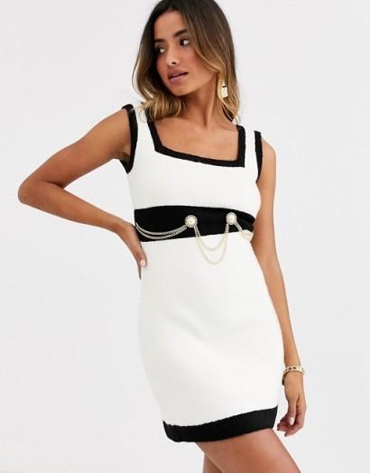 Ronny Kobo anamaree faux pearl micro mini dress with chain belt black / white – glamorous monochrome dresses