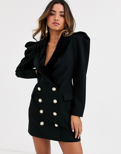 Ronny Kobo mayaletta statement shoulder blazer dress with buttons black – 80s style power dressing – evening glamour – lbd