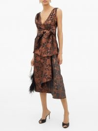 ERDEM Rosalie sash-waist floral-brocade tea dress in bronze ~ glamorous vintage style occasion dresses