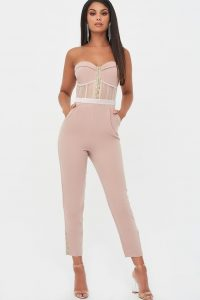 rosie connolly sheer contrast bandeau jumpsuit in mink – strapless evening jumpsuits