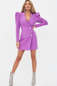 rosie connolly statement shoulder blazer dress in purple – structured going out dresses
