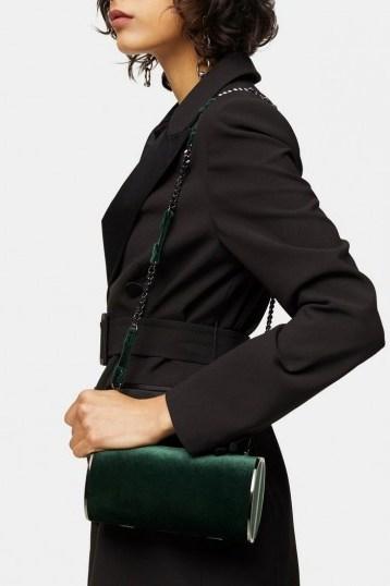 Topshop ROSIE Green Velvet Barrel Bag - flipped