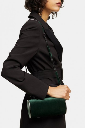 Topshop ROSIE Green Velvet Barrel Bag
