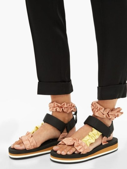 MIDNIGHT 00 Ruched satin and foam sandals in black with pink and yellow straps