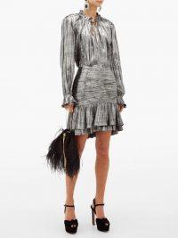 JONATHAN SIMKHAI Ruffled plissé-lamé mini skirt in grey / metallic event fashion