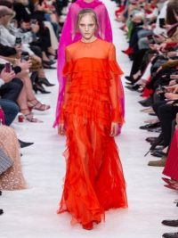 VALENTINO Ruffled orange silk-chiffon gown ~ designer red carpet style gowns