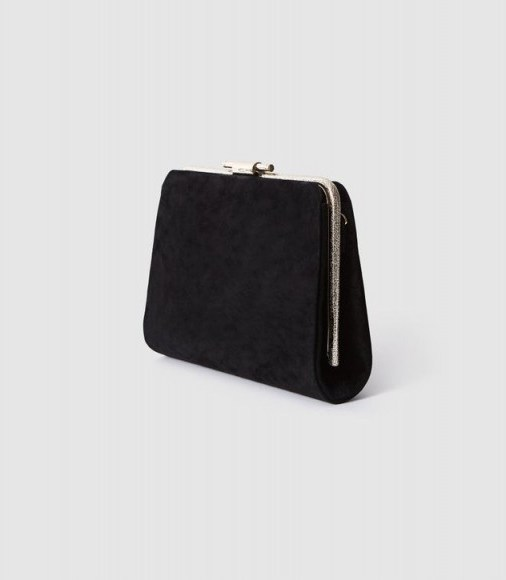 Reiss RUSSO SUEDE BOX CLUTCH BLACK – classic evening bag – effortless evening glamour - flipped