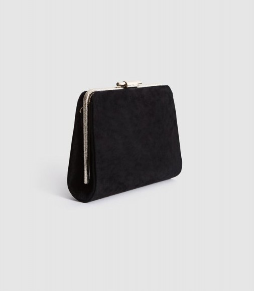 Reiss RUSSO SUEDE BOX CLUTCH BLACK – classic evening bag – effortless evening glamour