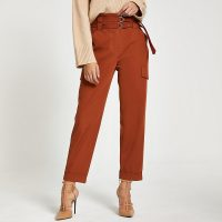 RIVER ISLAND Rust belted utility peg trousers