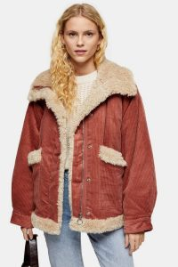 Topshop Rust Borg Jacket – cord winter jackets