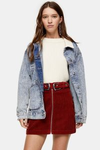 Topshop Rust Corduroy Double Buckle Mini Skirt | cord skirts